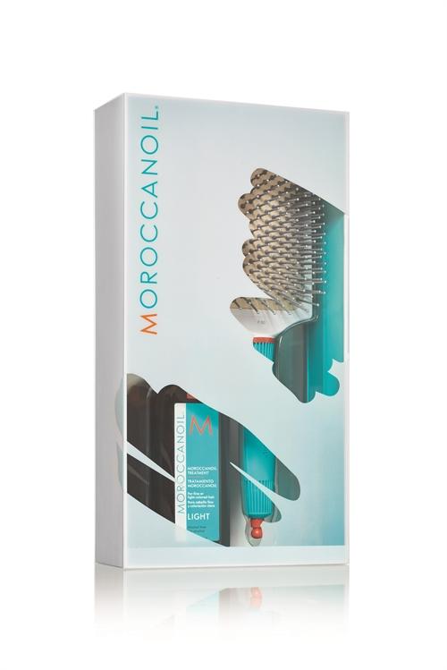 """מארז שמן טיפולי לייט 100 מ""""ל + מברשת סירוק קרמית מתנה MOROCCANOIL"""